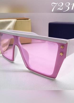 Женские солнцезащитные очки маска розовые в белой оправе louis...