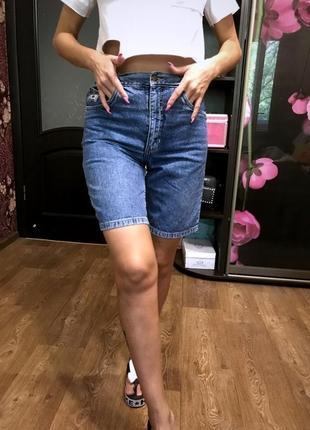 Брендовые джинсовые шорты с высокой посадкой
