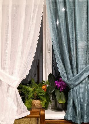 Занавеска штора тюль две половинки с подхватами дедерон