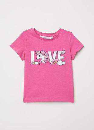 Футболка love единорог розовая для девочки h&m 98/104 на 2/4 года