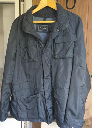Куртка муж. Massimo Dutti, XL, черная плащ. с кожаными вставками