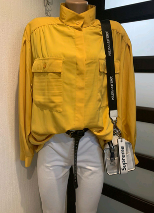 Крутая брэндовая же желтая блузка рубашка кофточка оверсайз