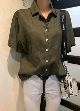 100% лен стильная брэндовая темно-оливковая рубашка кофта блузка