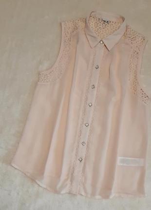 Шифоновая рубашка с кружевом без рукавов цвет пудры размер 8-1...