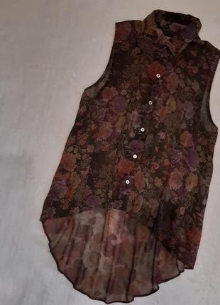 Шифоновая рубашка без рукавов с длинной спинкой цветы принт ра...