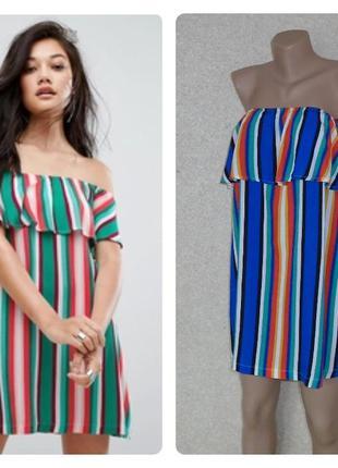 Кольоровий сарафан в полоску\плаття з воланом\разноцветный сар...