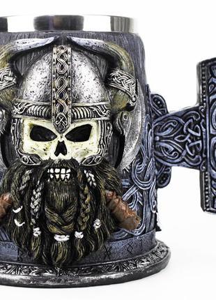 Кружка Чашка Бокал Викинг Воин Сатана 3D Молот Тора Нержавеющая С