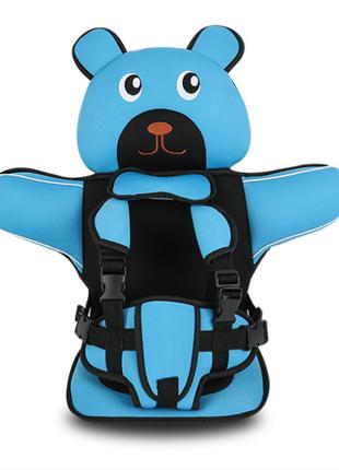 Детское Бескаркасное Автокресло в форме Медвежонка (Цвет Голубой)