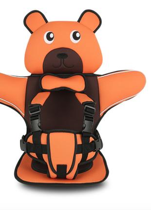 Детское Бескаркасное Автокресло в форме Медвежонка (Цвет Оранжевы