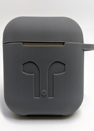 Чохол-силікон AirPods Case з карабіном Dark Grey