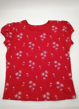 Красная хлопковая футболка для девочки натуральная летняя