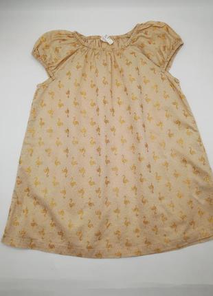 Натуральное хлопковое платье для девочки h&m с блестками фламинго