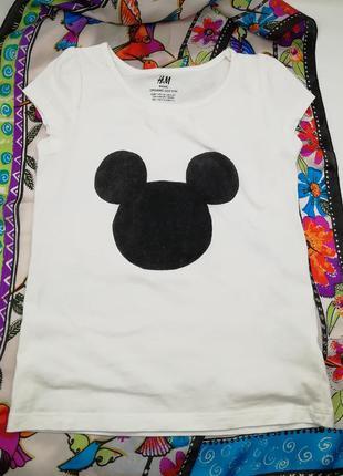 Белая футболка для девочки с микки h&m хлопковая натуральная
