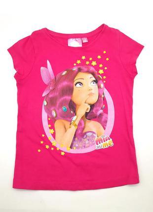 Ярко-розовая футболка для девочки с mia хлопковая натуральная