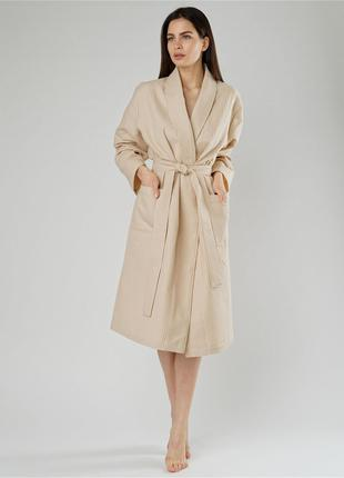 Вафельный халат S Luxyart Кимоно крупная клетка, размер (42-44) S
