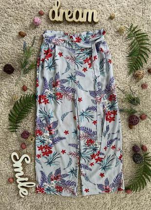 Актуальные летние вискозные брюки кюлоты с поясом №139