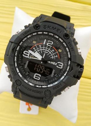 Мужские спортивные водонепроницаемые часы skmei черного цвета