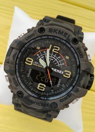 Мужские спортивные водонепроницаемые часы skmei цвета хаки в т...