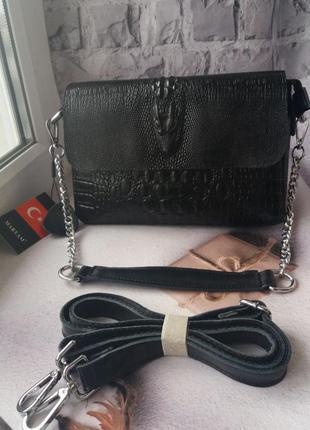 Женская кожаная сумка с принтом на плечо жіноча шкіряна