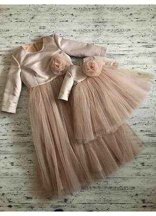 Нарядное фатиновое платье мама-дочка