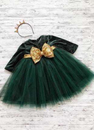 Бархатное платье бант пайетки для девочки