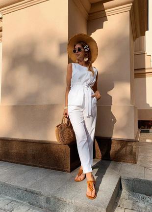 Жіночий лляний костюм двійка штани блуза блузка з поясом
