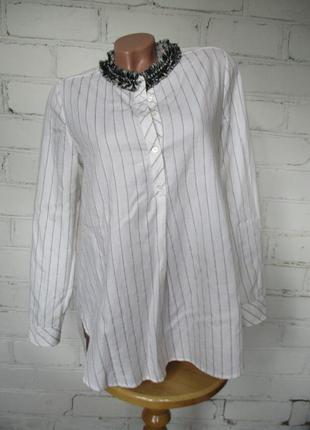 Рубашка удлиненная хлопковая в полоску/хлопок