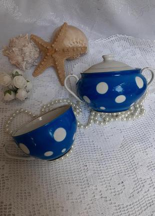 Сервиз чайный сахарница и чашка барановка фарфор ссср горошек ...