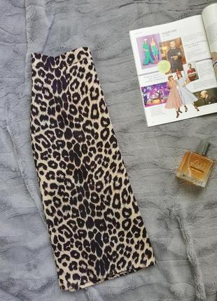 Юбка миди, леопард, леопардовая юбка, животный принт