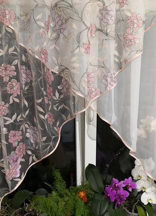 Занавеска штора тюль два угла роза
