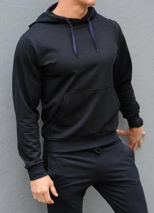 Темно-синяя худи унисекс с капюшоном