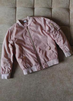 Пудровая лёгкая куртка бомбер ветровка lindex, рост 134см 8-9лет