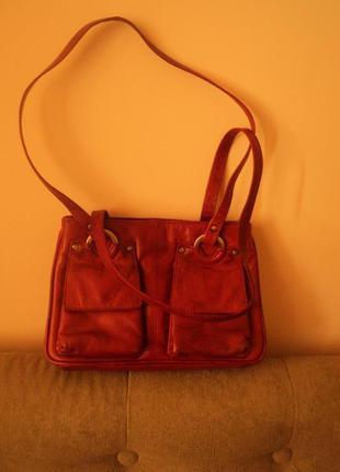 Кожаная сумочка цвета терракот