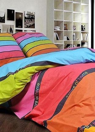 Комплект постельного белья из сатина. радуга. двуспальный, евро