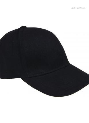 Черная кепка бейсболка 54-59 см , унисекс , хлопок