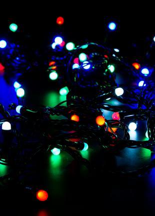Гирлянда электрическая черный провод LED 80 новогодняя мульти -ра