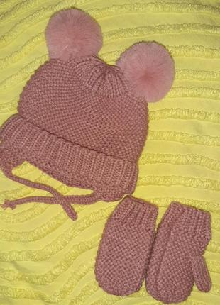Набор  деми шапка с пумпонами+ варежки zara  для малышки 3-6 м