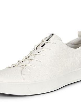 Мужские кожаные кроссовки кеды ecco soft 8 men's, белые
