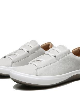 Мужские кожаные кроссовки кеды ecco kinhin, белые