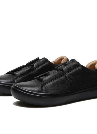 Мужские кожаные кроссовки кеды ecco kinhin, чёрные