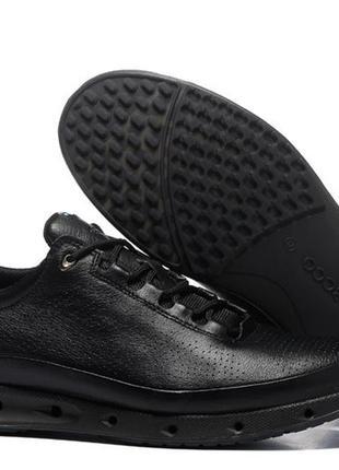 Мужские кожаные кроссовки кеды ecco cool exhale gore tex, чёрные