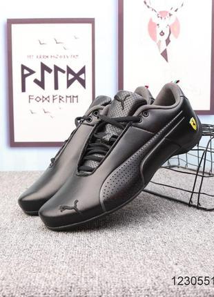 Мужские кожаные кроссовки puma ferrari future cat ultra, чёрные