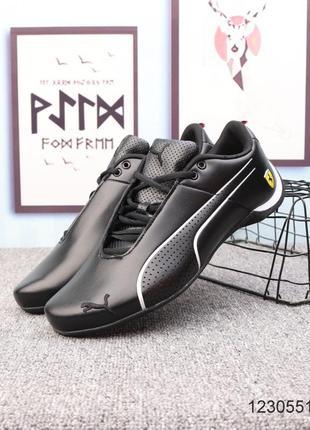 Мужские кожаные кроссовки puma ferrari future cat ultra, чёро-...