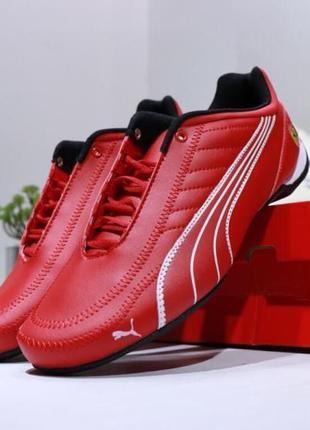 Мужские кожаные кроссовки puma future kart cat x ferrari, красные