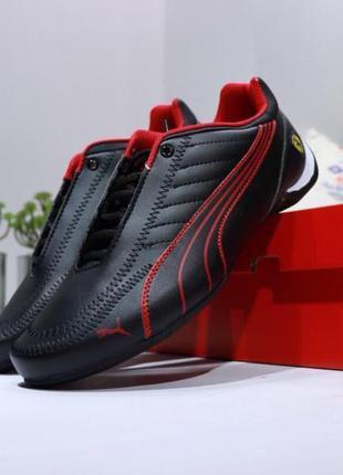 Мужские кожаные кроссовки puma future kart cat x ferrari, черные