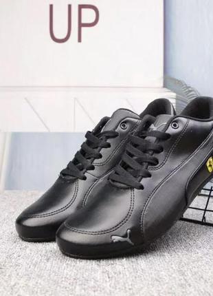 Мужские кожаные кроссовки puma x ferreari future cat, чёрные