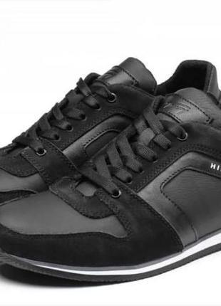 Мужские кожаные кеды кроссовки, черные