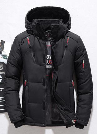 Мужская зимняя спортивная куртка пуховик jeep, чёрная