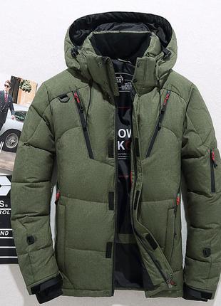 Мужская зимняя спортивная куртка пуховик jeep, хаки