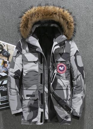 Мужская зимняя куртка аляска пуховик. очень тёплая. милитари с...